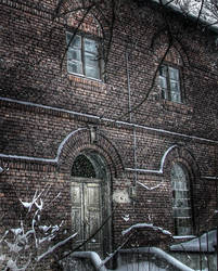 Winter old house