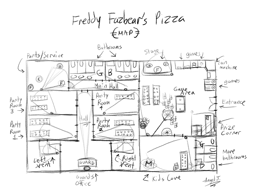 Freddy fazbear pizza map freddy fazbear 39 s pizza map by
