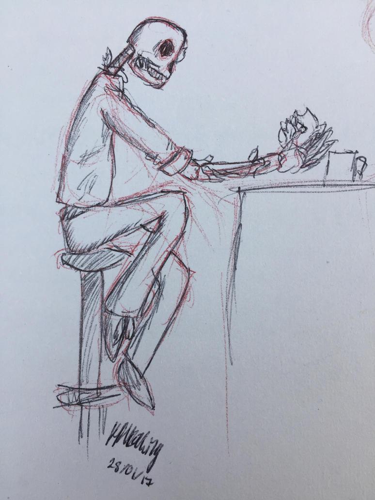 Sketch - A Skeleton Named Wilbur by hrhowling