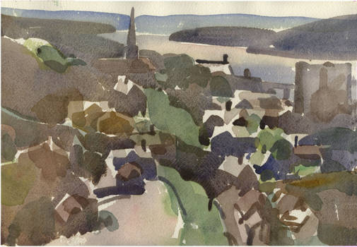 Poughkeepsie, from bridge, watercolor on arches