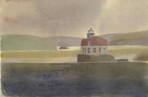 Esopus Light House, Hudson River, watercolor