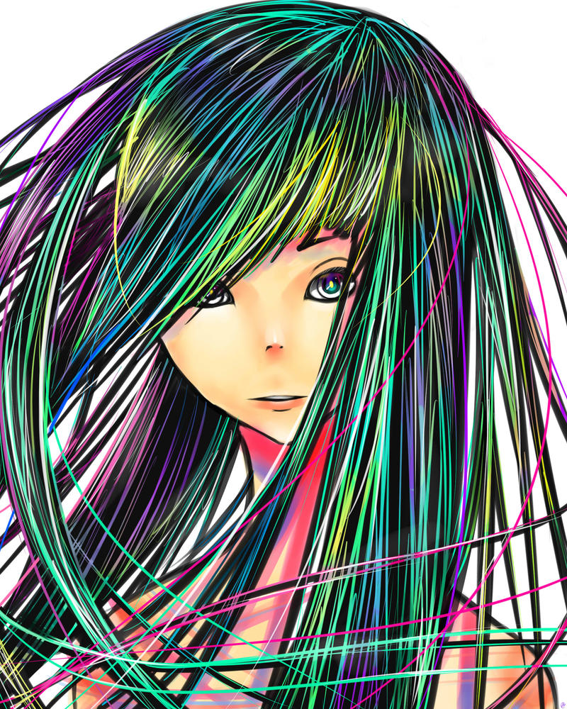 Rainbow Hair smile by madwolf25