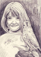 Little girl with hawk by staticgirl