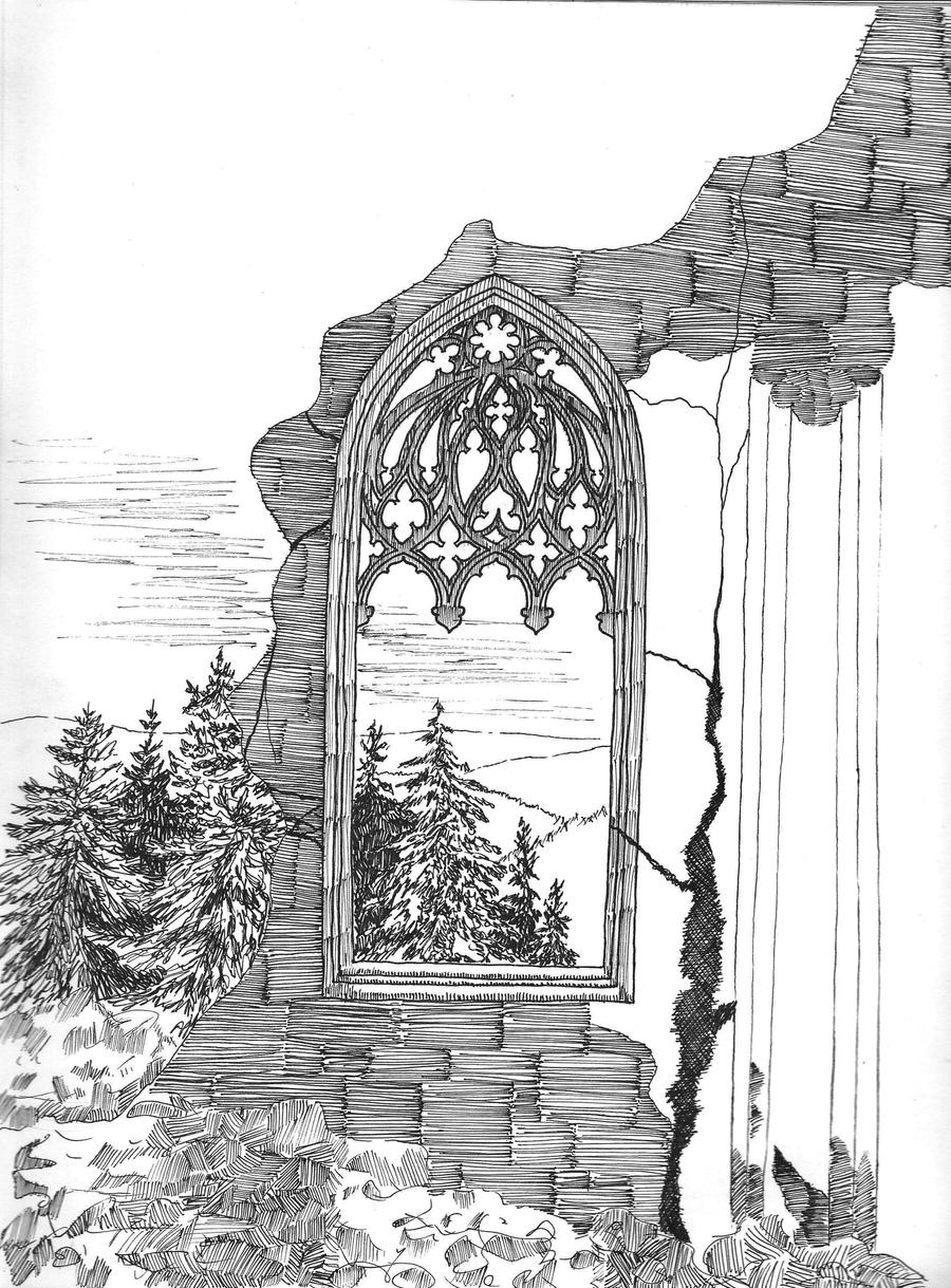 Gothic Window Sketch By Msilvestre