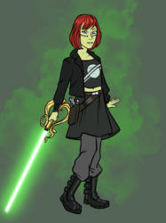 Kairi from Kingdom hearts as a Jedi