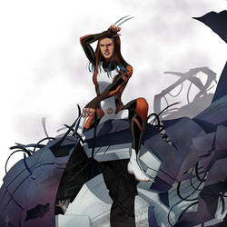 Laura kinney X-23 on top of a defeated Sentinel