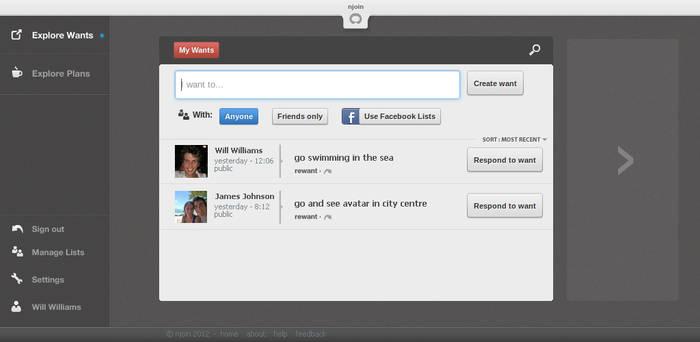 Social Organisation Webapp concept