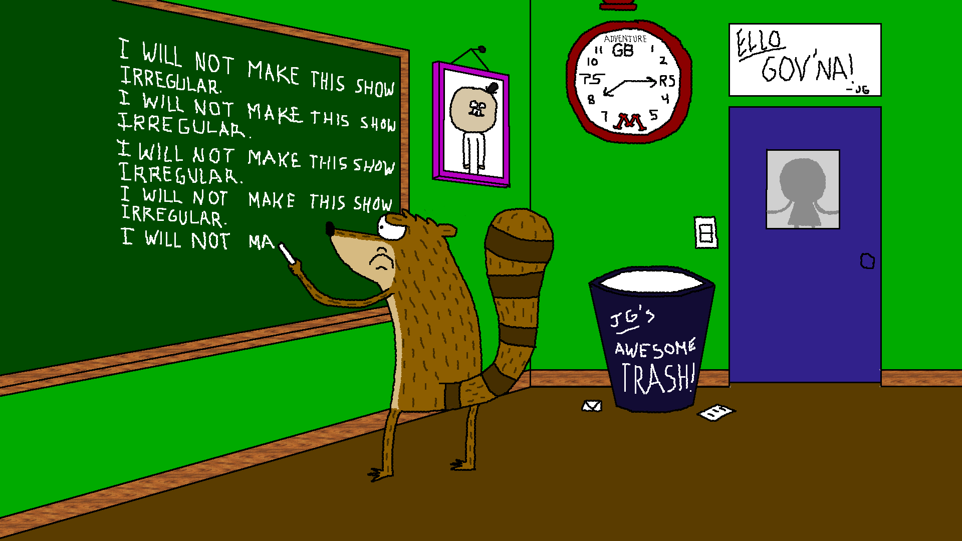 Rigby writes a Chalkboard Gag by Charleston-and-Itchy on ...