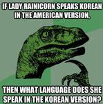 Philoseraptor's Lady Rainicorn question
