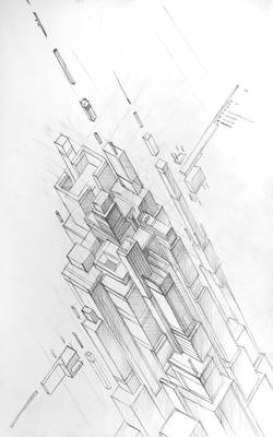 Cyber City. 3d - 00. First Sketch.