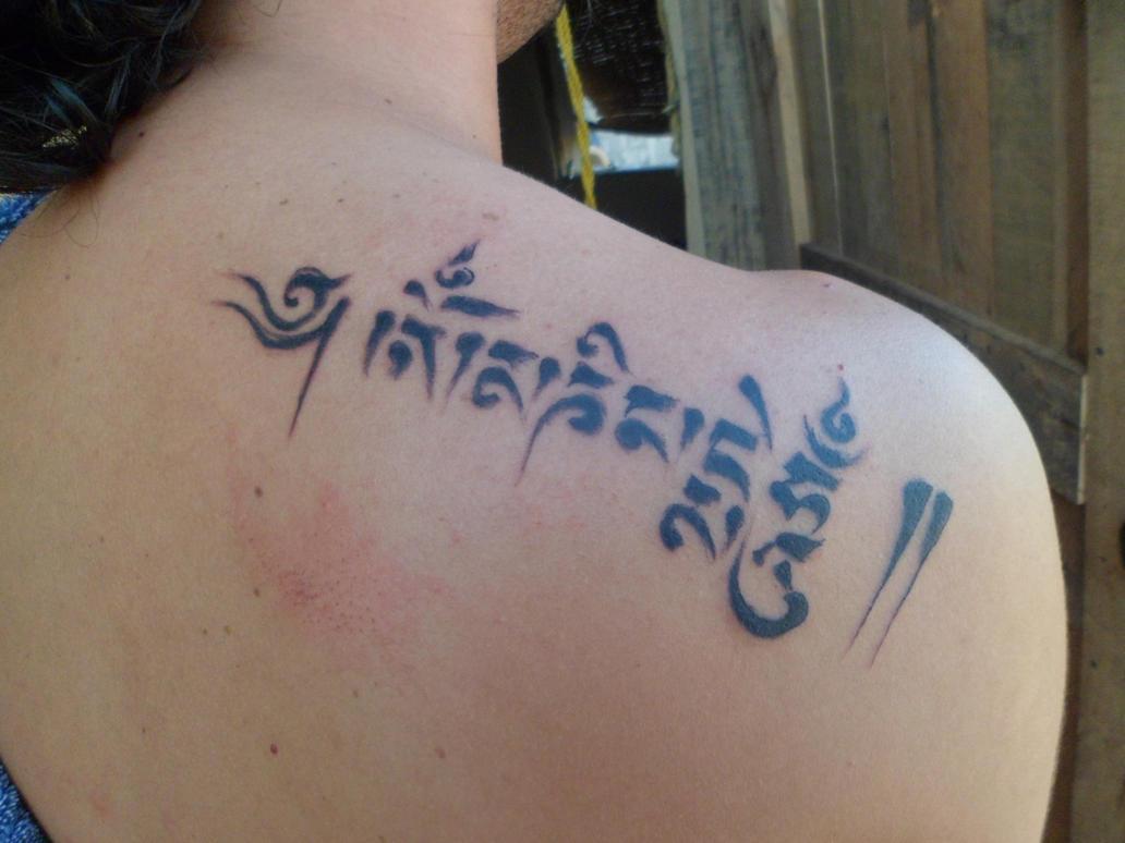 Om Mani Padme Hum Tattoo by Hannaogi