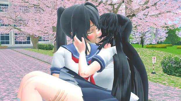 Yandere-Chan x Senpai-Chan kiss