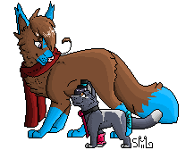 Jordan and Lady pixel shadded by Newmoonlove955
