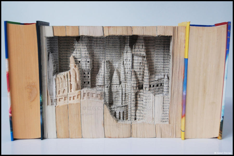 Hogwarts Book Sculpture by Helenhsd