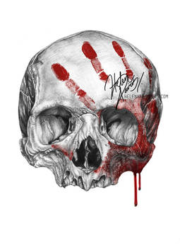 Skull and blood drawing