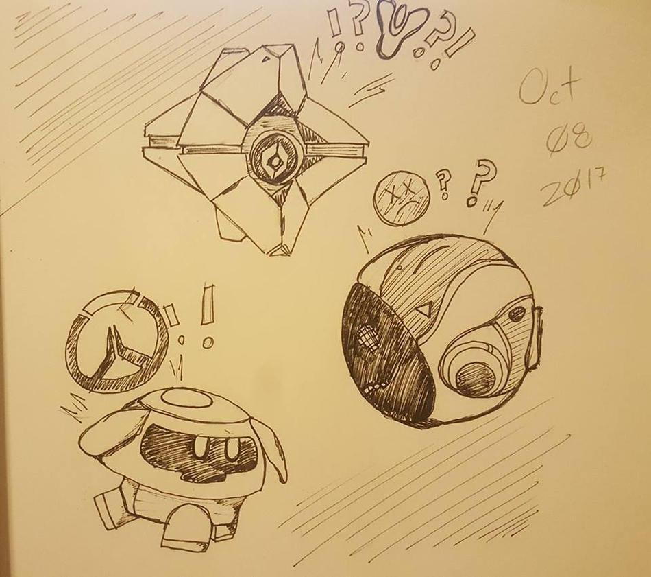 DRAWtober Day 8: Too Many Robot Buddies by SinArrow
