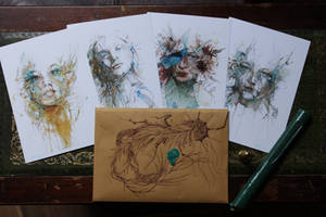 Fragments Postcards - with Hand drawn envelope
