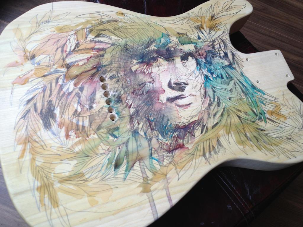 Work in progress on wooden guitar by Carnegriff