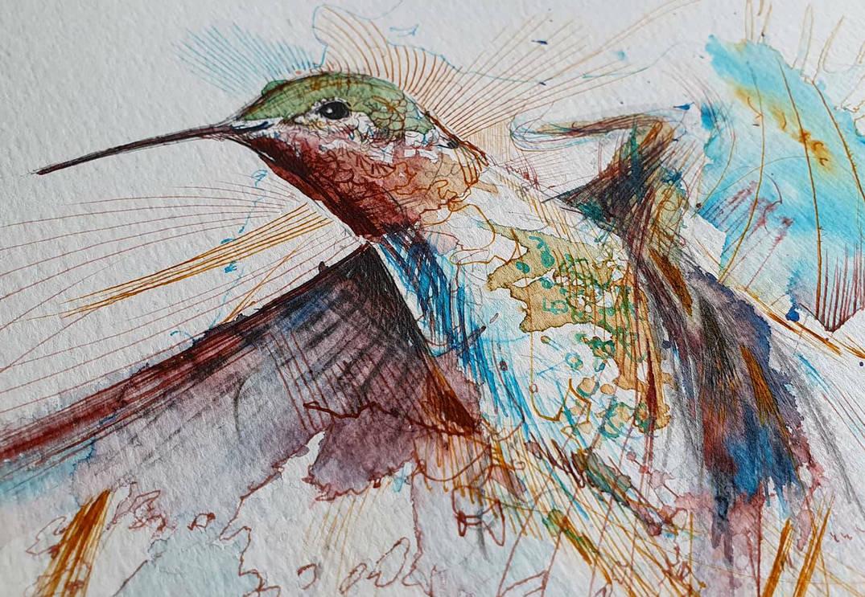 work in progress.. hummingbird piece