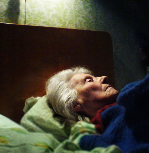 elderly woman in profile