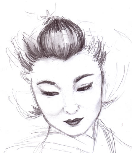 how to draw geisha eyes