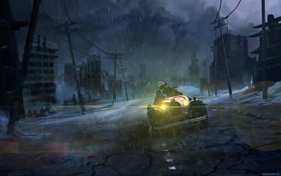 Driving in the rain by alexiuss