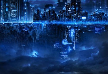 Cyberpunk town by alexiuss