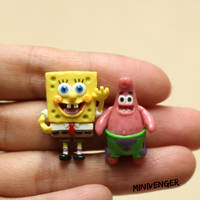 1 inch Spongebob and Patrick by minivenger