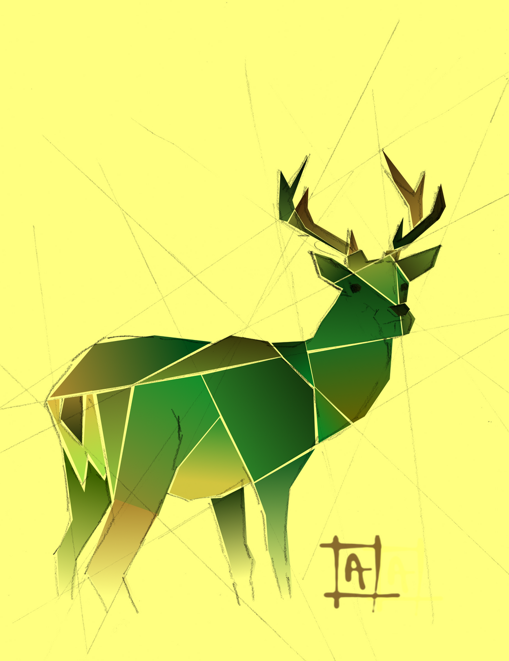 Green-deer Stag by Avalaa