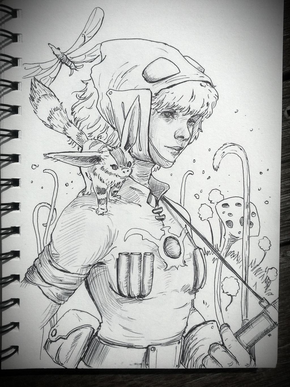 Nausicaa: Studio Ghibli Sketch by JowieLimArt