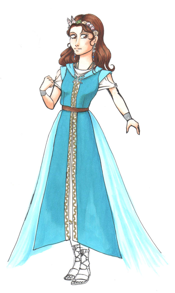 Galene Pristess of water ceremonial robes progress by Illien-chan