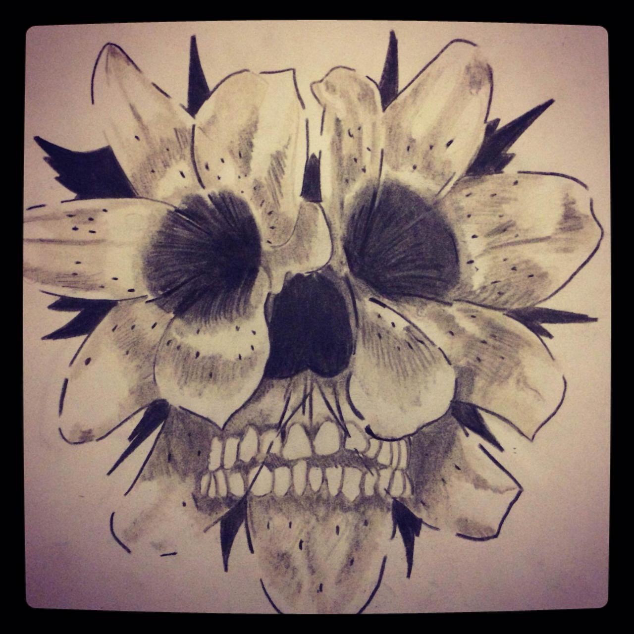 Flower Skull Tattoo 1 filter by snco art0713 on DeviantArt