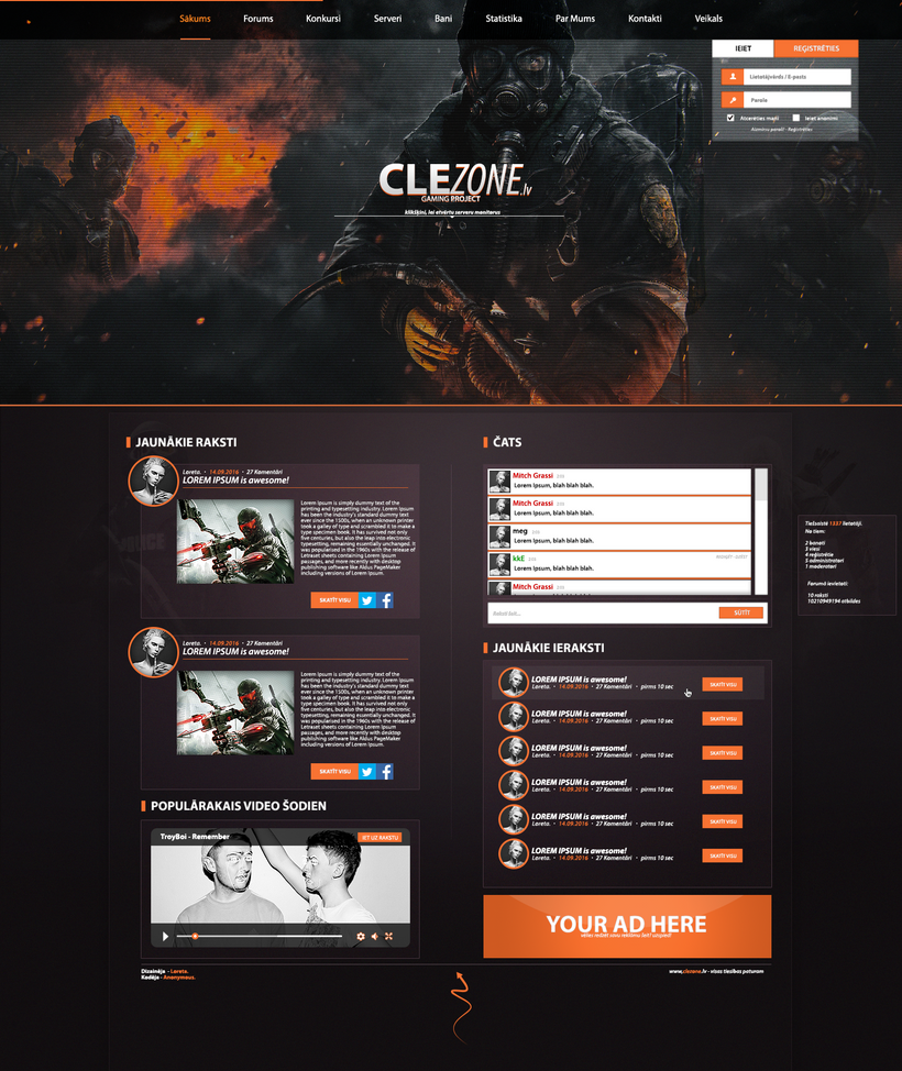 CLEZONE.LV PSD Gaming Website Design by amazingFake on DeviantArt