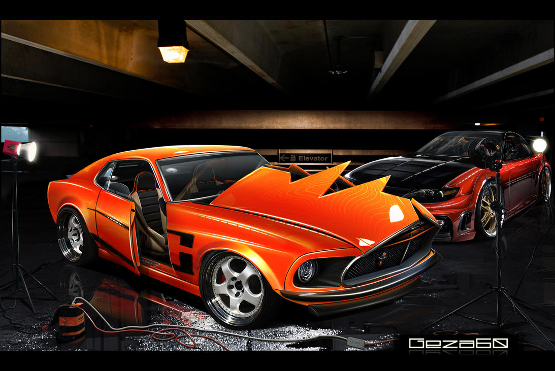 Mustang 69 and Celica GT by Geza60