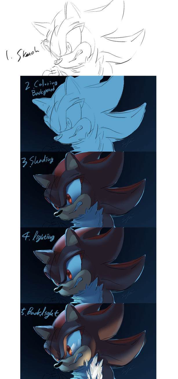 Shadow drawing process by Legeh