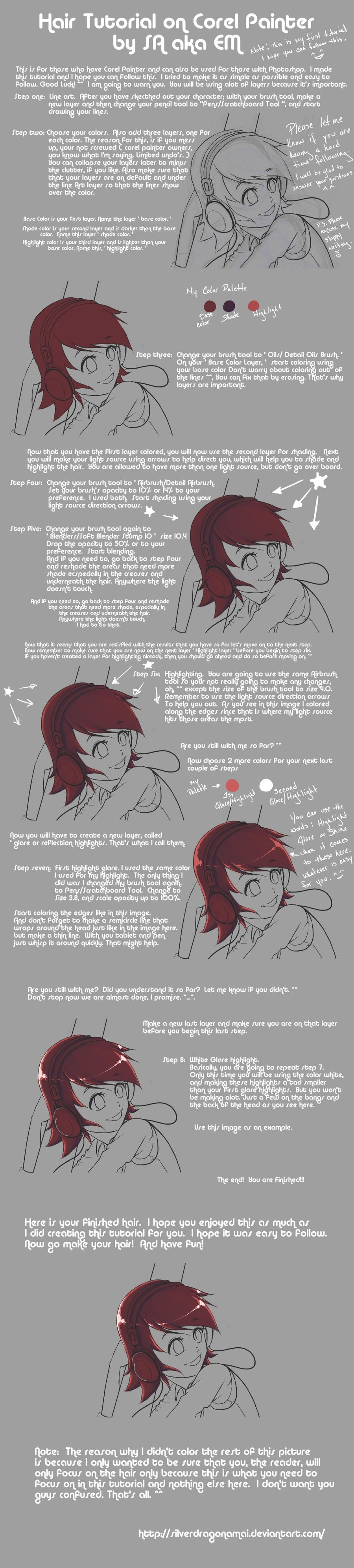 Hair Tutorial by SilverdragonAmai