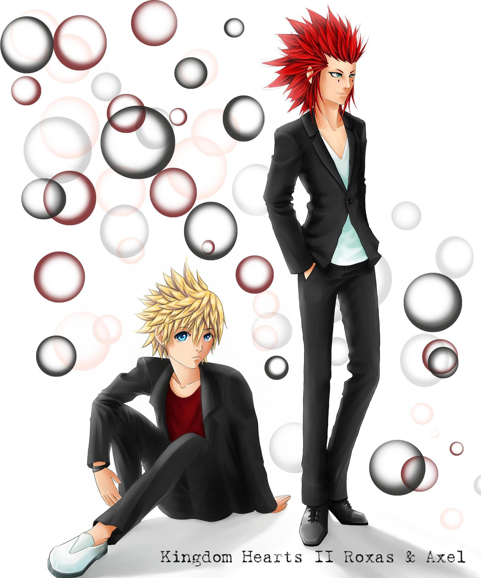 CP Kingdom Hearts II Roxas and Axel by SilverdragonAmai