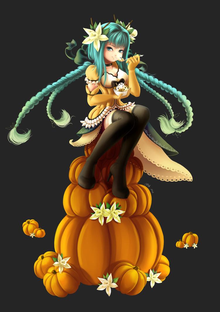 Hallie Pumpkin and Vanilla Ice Cream by SilverdragonAmai