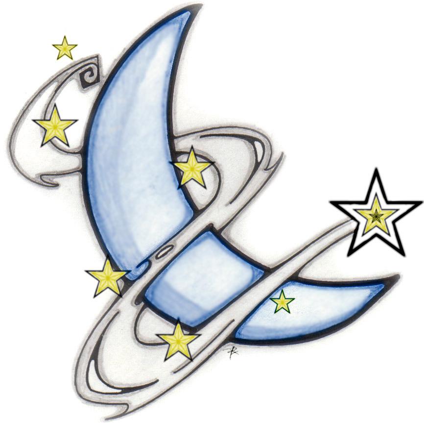 Corey tattoo design tattoo gallery by carlos davies for Moon and stars tattoo