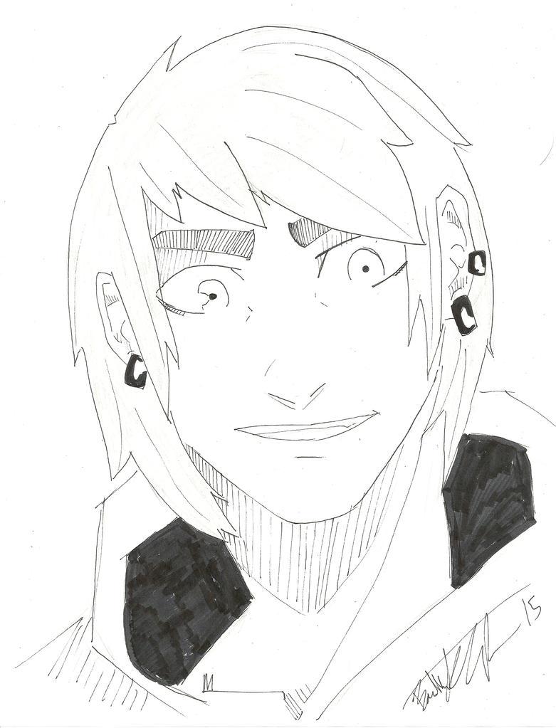 male face sketch by Drakenyaze