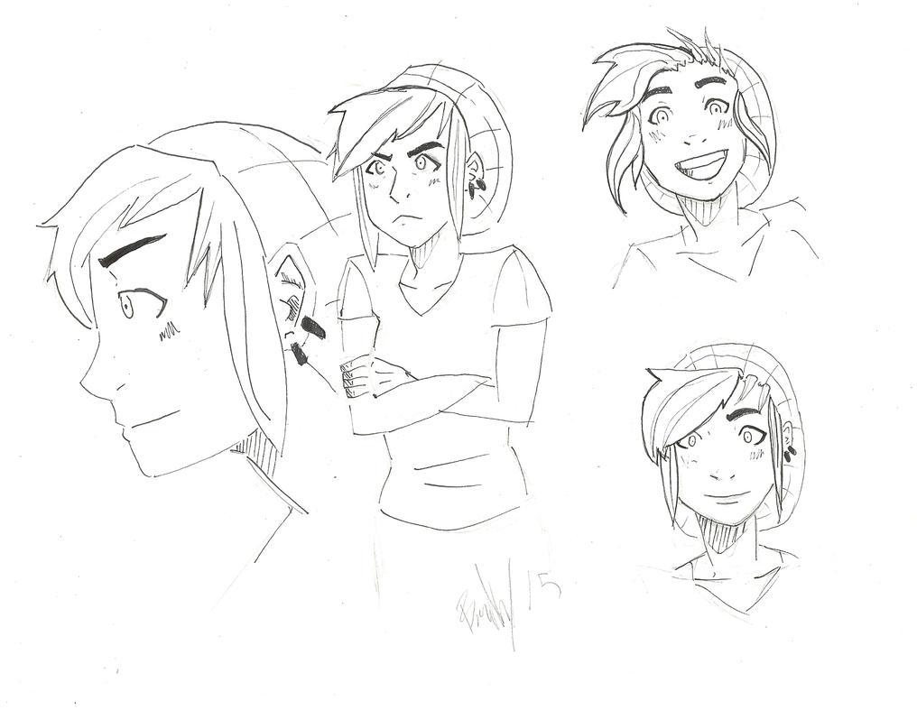 female character design sketch by Drakenyaze