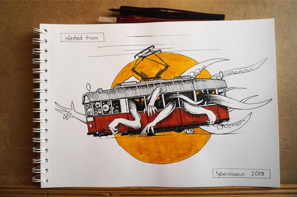 Inktober2019 / 02 - infested tram