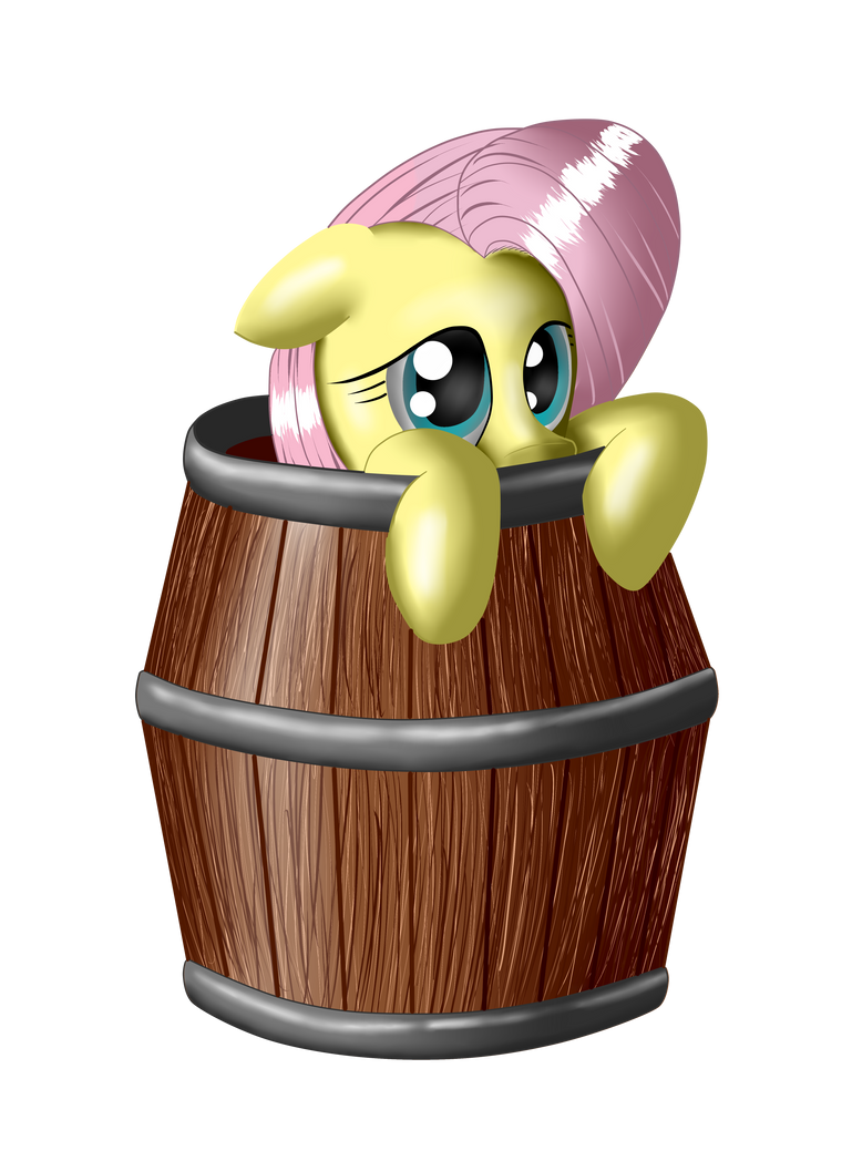 Fluttershy in a barrel by Ravirr94