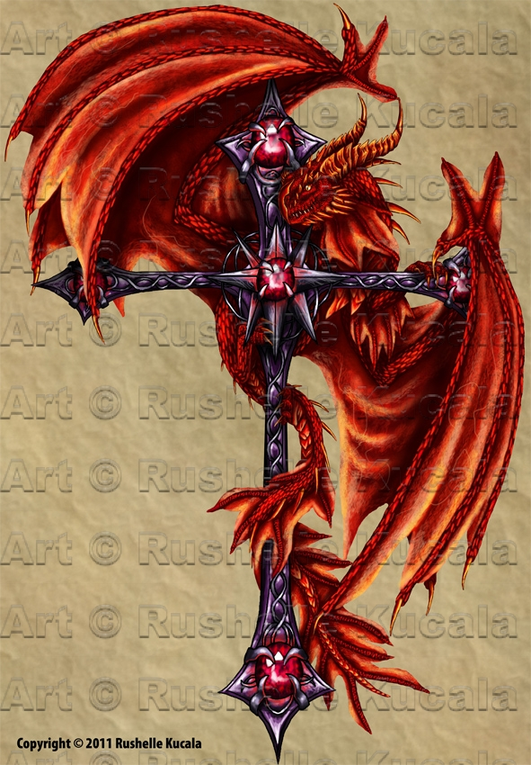 Tattoo Design: Dragon Cross