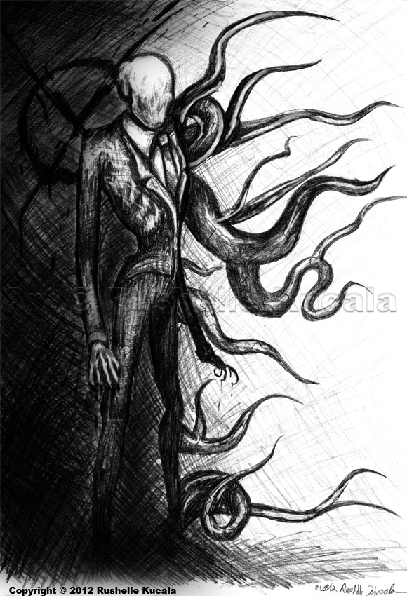 Scary Slenderman Drawing Slender Man Drawing Face