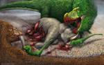 Tyrannosaurus Rex Family Feast by TheDragonofDoom