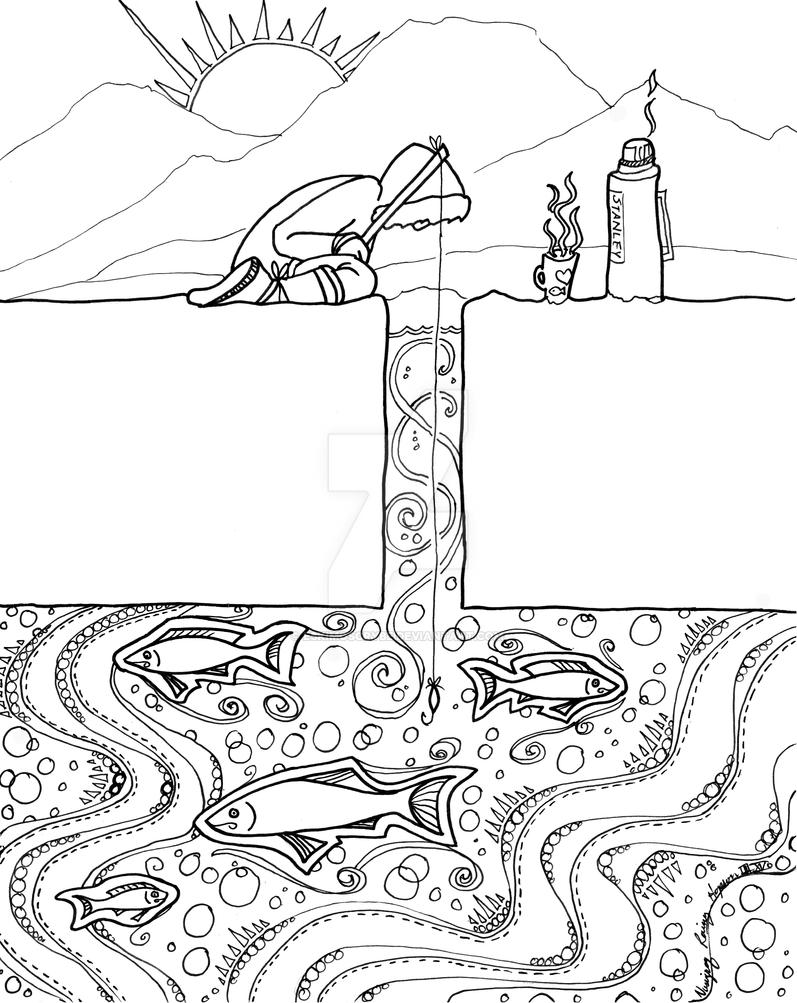 ice fishing coloring pages