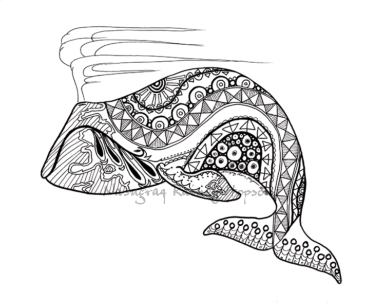 Spring whale - AKN8TV hand drawn coloring page by EskimoScrybe