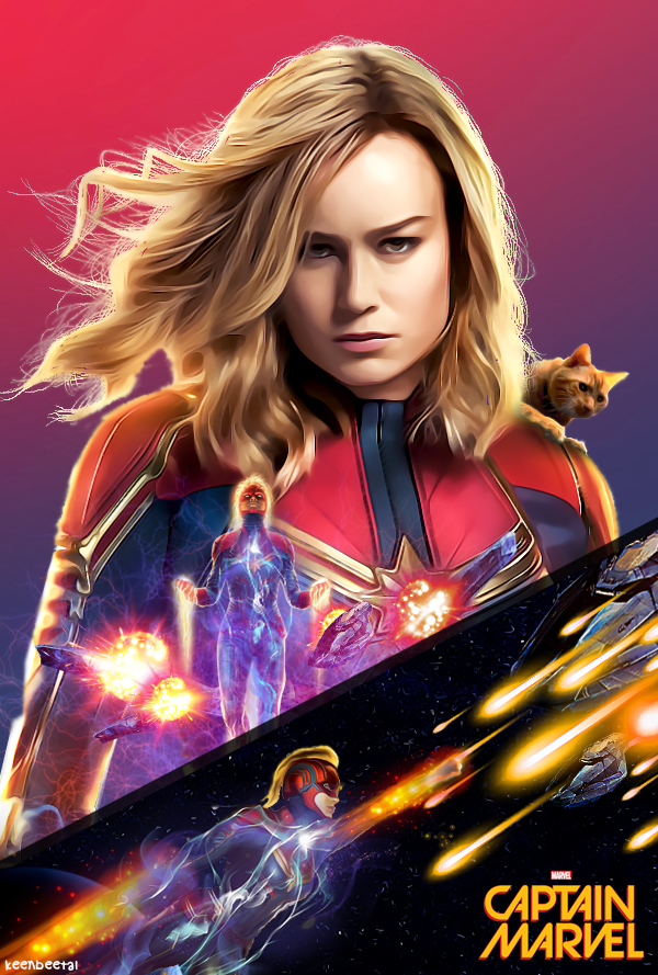 Captain Marvel (Fanmade Poster) by KeenbeetalART