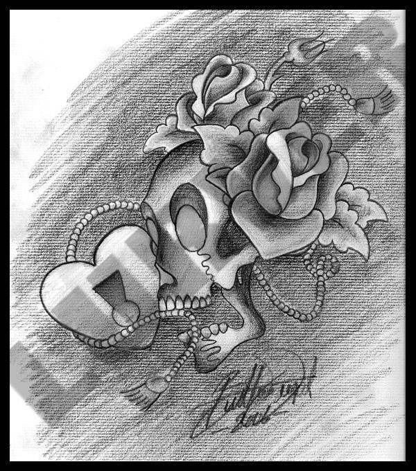 Skull Heartlock and Roses by lurver on deviantART